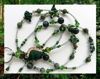 JURASSIC FUN- Handcrafted Beaded ID Lanyard- Ceramic Dinosaur Beads, Agate and Jungle Jasper Gemstones with Crystal Beads (Magnetic Clasp)