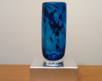 Marine Blue Vase with Swedish Clear Bottom