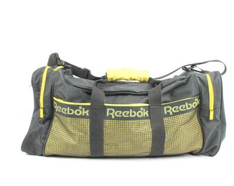 Vintage 90s REEBOK Duffle Bag Gym Workout Black Yellow 1990s Sports Athletic