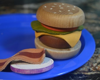 Pretend Food Bacon Cheddar Burger Play Food Deluxe Stacking Toy Wood Toy Pretend Play