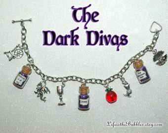 Disney Villains Charm Bracelet, The Dark Divas, Villainesses,  Evil Queen, Maleficent, Ursula, Wicked Charm Bracelet, Once Upon a Time