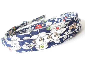 Popular gifts for teen girls, stylish wrap bracelet with Liberty fabric in dark blue and white, teacher gift, silver bead jewelry