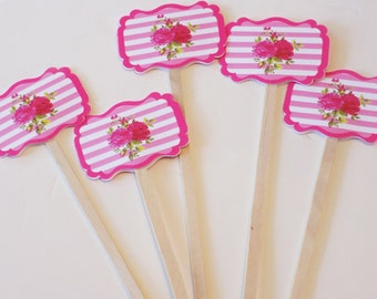 Pink Stripe and Rose Swizzle Sticks  - set of 20