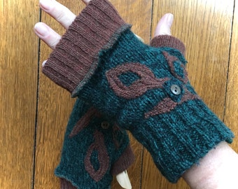 Fingerless Texting Gloves, Upcycled Sweaters, Wool Gloves, Green and Brown, #G117