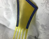 Art deco asymmetrical celluloid blue rhinestone hair comb