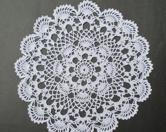 Crocheted Sea Shell Doily White - 15 inch Diameter - Cottage Chic