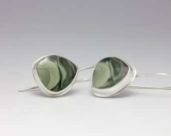 Imperial Jasper Earrings, Green Gemstone Earrings, Sterling Earrings, Natural Gemstones, Artisan Earrings