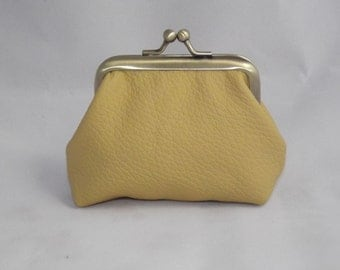 Small Leather Coin Purse, yellow colour coin purse, yellow leather,gift,leather purse,purse leather,bags and purses