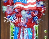 RESERVED LISTING for AMY!!! Patriotic Wreath with American Flag and Streamers