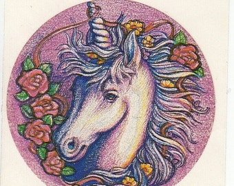ON SALE Rare Vintage AA Graphics Unicorn Sticker - 80's Rose Flower Fantasy Illustration Horse Scrapbook Collage