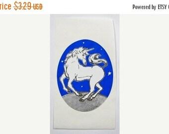 ON SALE Vintage Rare Silver Metallic Embossed Unicorn Sticker