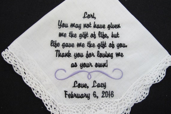 Wedding Handkerchief embroidered for the Stepmother of the Bride