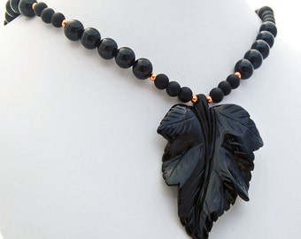 Onyx Leaf Copper Pendant Necklace Natural Stone