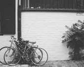 Bicycles in Paris - Download Monochrome Printable Fine Art Photograph, digital instant download, black and white, photography print