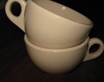 Two Tan Shenango Inca Ware Coffee Cups Pre 1950