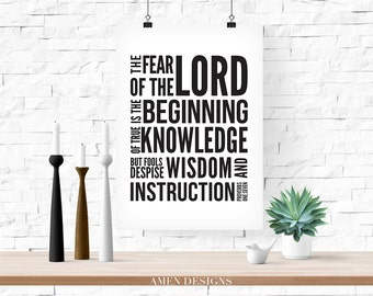 Foundation of Knowledge. Proverbs 1:7. NIV Printable DIY Christian Poster.Bible Verse.