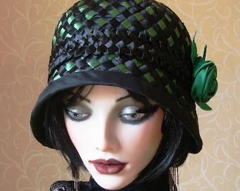 Green and black racello cloche hat