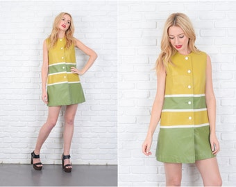 Vintage 70s Color Block Leather Dress Green Striped Mod Sleeveless Chevron Small 6432