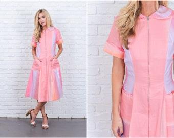 Vintage 60s Pink Mod Dress Peter Pan A Line Midi short sleeve Small S 6656 vintage dress 60s dress pink dress small dress