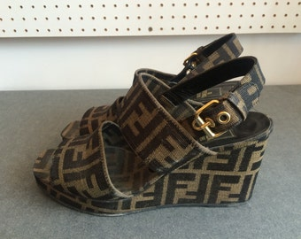 Vintage 1990s Fendi Wedge Sandals Size 4 UK, 6.5 US, 37 EU