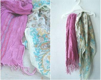 Retro Fashion Scarfs, Pink Long Fringe Cotton Scarf, Soft Pastels Blue Silver Thread Sheer Boho Scarf, Autumn Spring Boho 80s Wrap Scarfs