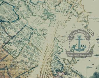 Boston Zakim Bridge Vintage Harboe City Map Choose Lustre Print or Gallery Wrapped Canvas
