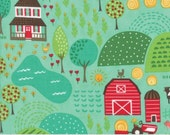 Farm Fun Main Print on Pond Blue from Moda's Farm Fun Collection by Stacy Iset Hsu
