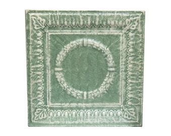 Pretty mint green & white salvaged tin panel