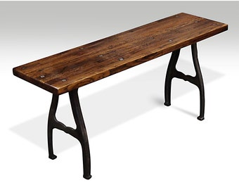 Industrial flooring bench with cast iron legs