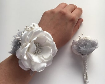 Boutonnière and Wrist Corsage Set - Cream and Silver - Prom, Homecoming, Bridesmaids, Groomsmen, Fabric Flowers, Fabric Wedding Flowers