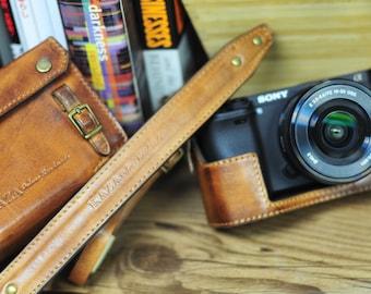 Sony A6300 COMBO case set in vintage brown , half case , case cover, strap set