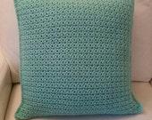 Mint Green Crochet Pillow  Cover