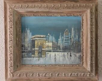 Vintage Paris France Evening Cityscape Impressionist Oil Painting Art on Canvas Signed Home Decor