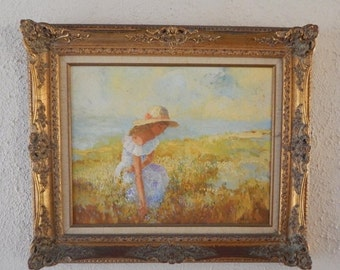 Sale Vintage European Impressionist Landscape Portrait of Woman Oil Painting Art on Board By Neubauer