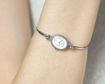 Vintage watch bracelet Seagull, oval face lady watch bracelet tiny, white face watch, unique women's watch gift, Soviet fashion watch her