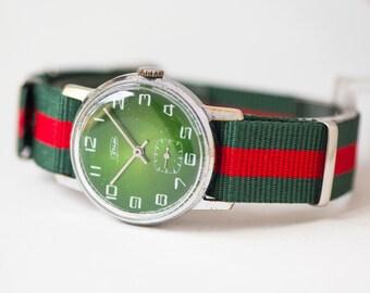Green Men's Wrist Watch ZIM, simple men's watch Soviet, round male watch 70s, mechanical gent watch, summer fashion watch, nylon strap new