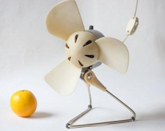 Soviet electric fan working, tabletop desk fan retro, 60s ventilator one speed, beige grey desk fan shabby, retro home decor cooling fan