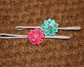 Baby headband - set of two, pink and mint