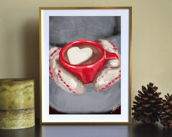 """Cozy Winter Mittens """"Hot Cocoa"""" Digital Painting Giclee Art Print"""
