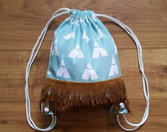 Teepee Drawstring Backpack - Toddler Backpack - Light Blue teepees with Suede Fringe - Ready to ship