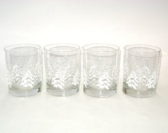 Dansk WHITE PINE Double Old Fashioned Glass Bar Tumblers Set of 4 - Christmas Trees & Snow