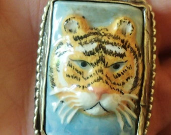 Tiger Pendant in Tibetan Silver Repousse