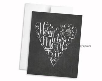 Mother's Day Card - Happy Mother's Day - Chalkboard Art - Blackboard Card - Hand Lettering- Chalk Art Mother's Day Card Heart Greeting Card