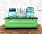 Enamel REFRIGERATOR BOX | Vintage (c.1930s) JADITE Enamelware Storage Box | Extra-Large Metal Refrigerator/ Fridge Dish | Medical Enamel