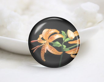 Handmade Round Tiger Lily Photo Glass Cabochons (P3640)