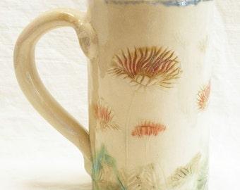 ceramic poppy coffee mug 16oz stoneware 16B023
