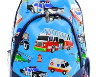 Monogrammed Firetruck Bookbag - Boy's Backpack - Monogrammed Backpack - Back to School - Monogrammed Bookbag