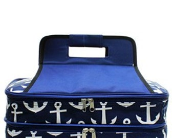 Monogrammed Casserole Carrier - Navy Anchor Pattern - Tailgate Bag - Shower Gift - Wedding Gift - Personalized Gift