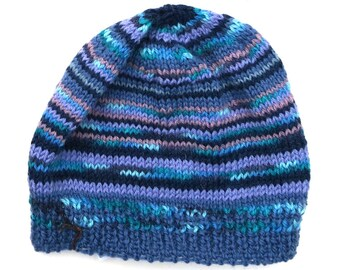 Mens Unisex Knitted 'Winter Blues' Wool Beanie. Size - ADULT . Handmade  . A Great Gift Idea . Made in Australia .