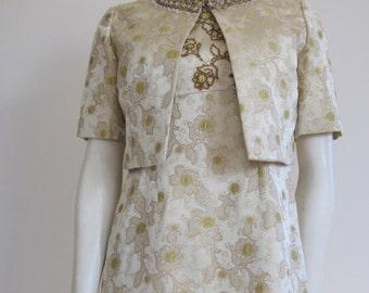 60s Dress / Evening Dress / Dress and Jacket / Brocade / Jackie Kennedy / Wedding / Vintage Wedding / Mad Men Dress / Gold Dress